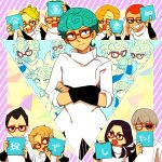 aqua_hair aqua_nails black_hair black_nails black_sclera blonde_hair cellphone closed_eyes cosplay crossed_arms curly_hair fang formaggio gelato ghiaccio ghiaccio_(cosplay) glasses grey_hair grin highres illuso jojo_no_kimyou_na_bouken melone nail_polish one_eye_closed open_mouth pesci phone prosciutto red_eyes red_nails redhead risotto_nero ruri_(347sankaku) smile sorbet sparkle tongue tongue_out translation_request