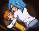 1boy 1girl blue_eyes blue_hair blush brown_hair colored embarrassed endou_mamoru headband inazuma_eleven_(series) push_down yagami_reina