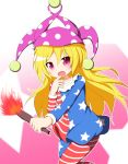 1girl american_flag_dress american_flag_legwear blonde_hair clownpiece dress fire hat jester_cap long_hair long_sleeves looking_at_viewer neck_ruff pantyhose polka_dot red_eyes senba_chidori short_dress smile solo star star_print striped torch touhou