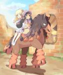 2girls black_boots black_hair blonde_hair bonnet boots brick_wall closed_eyes clouds dark_skin gloves green_eyes gumshoos haapuu_(pokemon) horseback_riding island_kahuna jumpsuit lillie_(pokemon) long_hair mei_(maysroom) mudsdale multiple_girls open_mouth pokemon pokemon_(creature) pokemon_(game) pokemon_sm ponytail riding short_sleeves skirt sky smile spoilers thick_eyebrows white_skirt