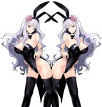 2girls animal_ears bare_shoulders black_legwear breasts bunnysuit cleavage clone detached_collar flower hair_flower hair_ornament hairband highres idolmaster large_breasts leotard leotard_pull long_hair looking_at_viewer multiple_girls rabbit_ears red_eyes shijou_takane silver_hair thigh-highs ysmmzr