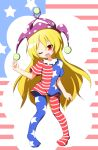 1girl american_flag_dress american_flag_legwear blonde_hair clownpiece dress full_body hat jester_cap long_hair looking_at_viewer neck_ruff one_eye_closed pantyhose pigeon-toed polka_dot red_eyes senba_chidori short_dress short_sleeves smile solo star star_print striped touhou