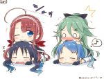 4girls blue_hair commentary commentary_request eyebrows_visible_through_hair flying_sweatdrops gloves gradient_hair green_hair grin hair_ornament hair_ribbon hairclip highres kantai_collection kawakaze_(kantai_collection) mae_(maesanpicture) multicolored_hair multiple_girls musical_note o_o redhead ribbon samidare_(kantai_collection) sleeping smile spoken_musical_note suzukaze_(kantai_collection) twitter_username yamakaze_(kantai_collection)