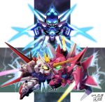 aegis_gundam aile_strike_gundam aqua_eyes chibi dated energy_sword fighting glowing glowing_eyes gundam gundam_age gundam_age-fx gundam_seed king_of_unlucky lightning mecha no_humans shield signature space strike_gundam sword weapon
