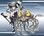 alternate_color artist_name bodysuit cane cape collar crossover ergot gloves green_eyes holding holding_poke_ball kantai_collection looking_at_viewer poke_ball pokemon shinkaisei-kan short_hair_with_long_locks tentacle tentacruel white_hair white_skin wo-class_aircraft_carrier