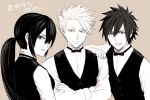 1girl 2boys artist_request black_hair fairy_tail gray_fullbuster lyon_vastia monochrome necktie ponytail translation_request ultear_milkovich waiter white_hair