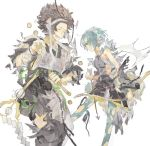 1boy 1girl arrow asama_(fire_emblem_if) black_hair blue_hair bow coin fire_emblem fire_emblem_if headband holding holding_weapon japanese_clothes setsuna_(fire_emblem_if) short_hair simple_background staff ustes_asa weapon white_background