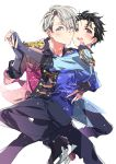 2boys black_hair blue_eyes brown_eyes cheek-to-cheek epaulettes fingerless_gloves gloves hand_holding ice_skates jewelry kasuga_souichi katsuki_yuuri male_focus multiple_boys one_eye_closed open_mouth ring silver_hair skates smile sparkle viktor_nikiforov yuri!!!_on_ice