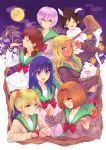 6+girls bow eating full_moon kusuke_(3157) mera_chisato moon multiple_girls rifuta_imu saiki_kusuko saiki_kusuo_no_psi_nan school_uniform teruhashi_kokomi yumehara_chiyo