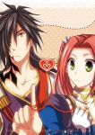 1boy 1girl black_hair character_name cm0521001 copyright_name eleanor_hume fingerless_gloves gloves green_eyes hair_over_one_eye heart long_hair orange_eyes redhead rokurou_rangetsu tales_of_(series) tales_of_berseria tattoo twintails