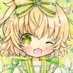 1girl ;d artist_name blonde_hair blush bow close-up copyright_name emo_(mikan) face flower flower_knight_girl green_background green_bow green_eyes hair_bow hakobera_(flower_knight_girl) looking_at_viewer lowres messy_hair one_eye_closed open_mouth short_hair smile solo striped striped_bow traditional_media watercolor_(medium)