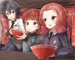 3girls bangs beret black_eyes black_hair black_hat black_necktie black_skirt blue_jacket blue_sweater blunt_bangs bowl braid brown_eyes chopsticks dress_shirt eating emblem food food_stand girls_und_panzer hat highres holding holding_bowl jacket long_sleeves looking_at_another mikko_(girls_und_panzer) miniskirt multiple_girls necktie noodles open_mouth parted_bangs pentagon_(railgun_ky1206) pepperoni_(girls_und_panzer) pleated_skirt raglan_sleeves ramen red_eyes redhead rosehip school_uniform shirt short_hair short_twintails side_braid sitting skirt smile spoon st._gloriana's_(emblem) standing steam sweater track_jacket twintails white_shirt yatai