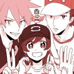 3boys bangs baseball_cap close-up hat male_focus male_protagonist_(pokemon_sm) monochrome multiple_boys new_year ookido_green ookido_green_(sm) open_collar otyaume_1910 pokemon pokemon_(creature) pokemon_(game) pokemon_sm raglan_sleeves red_(pokemon) red_(pokemon)_(sm) rowlet shirt short_hair simple_background smile spiky_hair striped striped_shirt swept_bangs t-shirt upper_body white_background