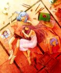 2girls :d ^_^ arms_at_sides bangs barefoot black_eyes blue_hair closed_eyes closed_mouth dress flower from_above hand_on_another's_head head_wreath highres holding holding_flower house lavender_hair lying mountain multiple_girls on_back on_floor on_side one_side_up open_mouth orange_shirt original outstretched_arms paint_tube paintbrush picture_(object) purple_hair red_shorts scribble shirt short_sleeves shorts sketch sketchbook sleeveless sleeveless_dress smile spread_arms swept_bangs tatami tooi_(sugarcoating) tree white_dress