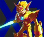 1boy armor beam_saber degarashi_(ponkotsu) gold_armor helmet holding holding_weapon looking_at_viewer pauldrons robot rockman rockman_x solo sword weapon x_(rockman)