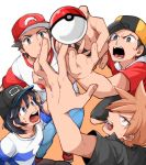 4boys backwards_hat bangs baseball_cap black_hair black_shirt black_shorts brown_hair capri_pants clothes_writing denim gold_(pokemon) grey_eyes hat jeans male_focus male_protagonist_(pokemon_sm) multiple_boys ookido_green ookido_green_(sm) otyaume_1910 pants poke_ball pokemon pokemon_(game) pokemon_hgss pokemon_sm raglan_sleeves reaching red_(pokemon) red_(pokemon)_(sm) shirt short_hair short_sleeves shorts spiky_hair striped striped_shirt sunglasses sunglasses_on_head swept_bangs t-shirt