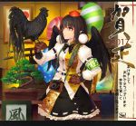 1girl 2017 animal arm_belt armband balloon bangs belt belt_pouch bird bird_on_hand black_bow black_bowtie black_ribbon black_skirt black_wings bonsai bow bowtie breasts brown_gloves calligraphy camera chicken cibo_(killy) closed_mouth cowboy_shot crack feathered_wings frame frilled_skirt frills frown gloves hand_on_hip hat katana letterboxed medium_breasts new_year plant pointy_ears polka_dot pom_pom_(clothes) pom_poms potted_plant red_eyes red_hat ribbon ribbon-trimmed_skirt rooster safety_pin shameimaru_aya shirt skirt striped sword tokin_hat touhou wall weapon white_shirt wings year_of_the_rooster yellow_eyes