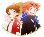 2boys amano_keita american_flag blue_eyes blue_rose brown_eyes brown_hair cherry_blossoms flower freckles japanese_flag jewelry mac_(youkai_watch) male_focus multiple_boys necklace open_clothes open_shirt poko_(ame) popped_collar redhead rose shirt short_hair simple_background smile sunglasses sunglasses_on_head white_background youkai_watch
