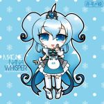 1girl ankle_boots blue_eyes blue_hair bowtie character_request chibi cuffs dress hair_ornament highres macloid macne_nana_whisper official_artwork open_mouth solo stockings tagme thigh_highs very_long_hair