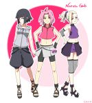 3girls bike_shorts black_hair blonde_hair blue_eyes cropped_jacket green_eyes hair_ribbon hands_on_hips haruno_sakura high_heels highres hood hoodie hyuuga_hinata konbari_tariumu lavender_eyes midriff miniskirt multiple_girls naruto navel outline parody pink_hair poke_ball pokemon ponytail ribbon sandals shorts shorts_under_skirt skirt sleeveless sleeveless_hoodie yamanaka_ino zipper