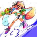 1girl bangs bike_shorts black_shorts blunt_bangs closed_mouth commentary_request domino_mask full_body green_shirt headphones holding holding_weapon ink_tank_(splatoon) inkling long_hair mask mebae midriff monster_girl navel orange_hair paint paint_splatter pointy_ears purple_shoes shirt shoes shorts sneakers splatoon splattershot_(splatoon) standing super_soaker t-shirt tentacle_hair weapon white_background wince
