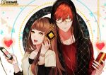 1boy 1girl 707_(susanghan_messenger) bracelet cellphone glasses heart hood hood_up hoodie jewelry layered_clothing logo looking_at_another looking_at_viewer official_art persona92 phone protagonist_(susanghan_messenger) red_shirt redhead shirt smartphone smile susanghan_messenger t-shirt triangle watermark white_shirt yellow_eyes