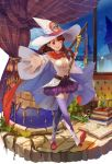 1girl ;d absurdres akko_kagari belt book boots breasts brown_hair buttons cape cleavage clouds cloudy_sky clover cosplay curtains four-leaf_clover hat highres little_witch_academia long_hair medium_breasts miniskirt mizukiyan mushroom navel night night_sky one_eye_closed open_mouth reaching_out red_eyes shiny_chariot shiny_chariot_(cosplay) skirt sky smile sparkle test_tube thigh-highs thigh_boots wand witch_hat wizard_hat