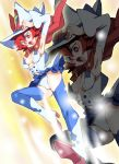 boots cape hat inazuma_kick little_witch_academia onnaski panties red_eyes redhead shiny_chariot skirt thigh-highs thigh_boots underwear white_panties witch witch_hat zoom_layer