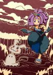 1girl :3 :d acerola_(pokemon) armlet chasing chawalit_adsawawalanon clouds day dress elite_four fingernails flipped_hair hair_ornament highres mimikyu nail_polish open_mouth outdoors outline pikachu_costume pokemon pokemon_(creature) pokemon_(game) pokemon_sm purple_hair purple_nails running sandals short_hair short_sleeves smile stitches teeth toenail_polish toenails topknot torn_clothes torn_dress trial_captain violet_eyes