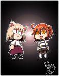 2girls :3 :d ahoge animal_ears arcueid_brunestud black_legwear blonde_hair cat_ears chibi crossover fate/grand_order fate_(series) fujimaru_ritsuka_(female) ishiki_(okota) long_skirt multiple_girls nekoarc open_mouth pantyhose purple_skirt red_eyes riyo_(lyomsnpmp)_(style) side_ponytail skirt smile tsukihime turtleneck type-moon uniform