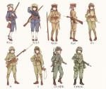 6+girls ankle_boots ankle_wraps arisaka battle_rifle bayonet black_hair bolt_action boots brown_eyes brown_hair combat_boots contrapposto flak_jacket gaiters gloves green_eyes gun hand_on_hip hat helmet highres howa_type_64 imperial_japanese_army japan_ground_self-defense_force load_bearing_equipment long_hair longmei_er_de_tuzi looking_at_viewer military military_uniform multiple_girls peaked_cap pouch rifle short_ponytail sling smile soldier timeline twintails uniform weapon white_gloves world_war_ii