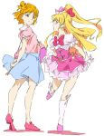 2girls asahina_mirai blonde_hair bow casual cure_miracle gloves hair_bow half_updo hat jewelry long_hair magical_girl mahou_girls_precure! mini_hat mini_witch_hat multiple_girls multiple_persona older open_mouth pink_hat precure puffy_short_sleeves puffy_sleeves short_hair short_sleeves skirt smile umanosuke violet_eyes white_gloves witch_hat