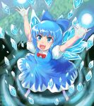 1girl :d absurdres arms_up barefoot blue_bow blue_dress blue_eyes blue_hair bow cirno commentary dress from_above hair_bow highres ice ice_wings open_mouth profitshame puffy_short_sleeves puffy_sleeves red_bow red_neckwear short_sleeves smile solo touhou wings