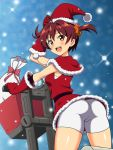 1girl an-bl ass bike_shorts brown_hair from_behind ground_vehicle hat isshiki_akane looking_at_viewer looking_back motor_vehicle open_mouth red_eyes sack santa_hat scooter shawl short_hair shorts solo twintails vividred_operation white_shorts