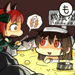 2girls ? animal_ears bathing blush bottle bow braid brown_hair cat_ears chibi constricted_pupils cup dress green_dress hair_bow holding holding_cup kaenbyou_rin looking_at_another maguro_(mawaru_sushi) melting molten_rock multiple_girls naked_towel nekomata open_mouth orange_eyes radiation_symbol red_eyes redhead reiuji_utsuho sake_bottle smile sweatdrop thermometer touhou towel towel_on_head