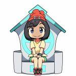 1girl beanie black_eyes black_hair female_protagonist_(pokemon_sm) hat kanikama lowres pokemon pokemon_(game) pokemon_sm red_hat shirt short_hair sitting solo tied_shirt z-ring