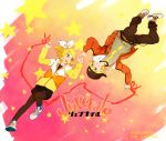 blonde_hair blue_eyes earrings fashion hair_ribbon hair_ribbons hat hoodie jacket jewelry juvenile_(vocaloid) kagamine_len kagamine_rin mitosa necklace pantyhose ribbon ribbons shoes siblings skirt sneakers star stars t-shirt twins vocaloid