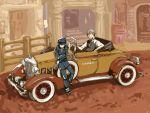 blazer blue_hair cabbie_hat car detective grey_hair haruyama_(pixiv169154) hat left-hand_drive motor_vehicle narukami_yuu persona persona_4 pipe reverse_trap seta_souji shirogane_naoto vehicle vest