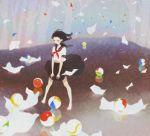 ball barefoot black_hair kumaori_jun marble original school_uniform serafuku wind