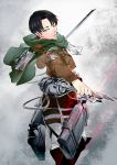1boy 3dmg ascot belt black_hair boots cable cape highres jacket primal_f01 rivaille shingeki_no_kyojin solo sword thigh_strap weapon