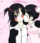 black_eyes black_hair blush izumi_(q!) kiss michishige_sayumi morning_musume tanaka_reina yuri