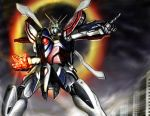 buildings g_gundam god_gundam gundam majyuu_zaruba mecha pointing shining_finger solo super_robot