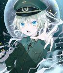 1girl bangs blonde_hair blue_eyes error eyelashes hat highres looking_at_viewer military military_hat military_uniform moon night open_mouth solo tanya_degurechaff uniform youjo_senki