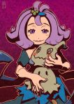 1girl :3 acerola_(pokemon) bare_arms blush chawalit_adsawawalanon costume dress elite_four fingernails flipped_hair gradient gradient_background hair_ornament highres looking_at_viewer mimikyu nail_polish open_mouth outline pikachu_costume pokemon pokemon_(creature) pokemon_(game) pokemon_sm purple_hair purple_nails short_hair short_sleeves smile teeth topknot torn_clothes torn_dress torn_sleeves trial_captain violet_eyes