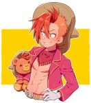 1boy abs bandanna belt bright_pupils cropped_jacket disney ear_piercing gloves hand_on_hip jacket kiri_futoshi male_focus multicolored_hair nipples orange_hair panchito_pistoles personification piercing red_eyes shirtless signature simple_background smile stuffed_animal stuffed_toy teddy_bear the_three_caballeros two-tone_hair white_gloves yellow_background