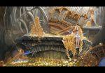 absurdly_long_hair androgynous baton_(instrument) big_hair black_border black_dress blonde_hair blue_rose blue_wings border bow conductor cross doll doll_joints dress flower fuu_kotora globe grass hair_bow holding_instrument instrument letterboxed light_particles long_dress long_hair looking_at_viewer low_wings orange_bow orange_rose organ original outstretched_arm petals pillar pipe_organ rose ruins shoes short_dress sitting skeleton sleeveless sleeveless_dress standing statue very_long_hair violin white_dress white_rose white_shoes wings yellow_rose