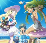3girls ^_^ ^o^ alolan_exeggutor bag baggy_pants bangs bare_shoulders beach blonde_hair blue_hair blunt_bangs blush braid closed_eyes closed_mouth clouds cosmog dark_skin day dress flower flower_on_head green_eyes green_hair hair_flower hair_ornament hand_on_own_cheek happy hat legs lillie_(pokemon) long_hair looking_at_viewer mao_(pokemon) multiple_girls ocean open_mouth pants pelipper pink_shirt pokemon pokemon_(game) pokemon_sm popplio ribbon sand see-through shiinotic shirt short_hair sitting sky sleeveless sleeveless_dress sleeveless_shirt smile sparkle suiren_(pokemon) sun_hat sunlight sweatdrop swept_bangs swimsuit swimsuit_under_clothes trial_captain twin_braids waving