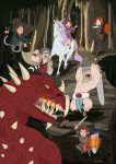2girls 4boys armor brown_hair cape dipper_pines dragon eugenia_beilschmidt freckles gravity_falls greaves hat highres knight long_hair mabel_pines multiple_boys multiple_girls redhead role_play shield siblings smile soos stanford_pines stanley_pines sweater sword turtleneck twins weapon wendy_corduroy