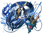 1girl bandage blue_eyes blue_hair boots china_dress chinese_clothes defiaz_(infinity) dragon dragon_girl dragon_horns dragon_tail dress gauntlets head_fins horns karin_(p&d) long_hair open_mouth puzzle_&_dragons sharp_teeth smile solo_focus spiked_knuckles tail teeth thigh-highs thigh_boots water yellow_eyes