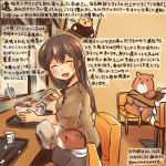 1girl ^_^ akagi_(kantai_collection) alternate_costume brown_hair chopsticks closed_eyes commentary_request eating food hamster kantai_collection kirisawa_juuzou long_hair noodles ramen shirt short_sleeves smile spoon traditional_media translation_request twitter_username